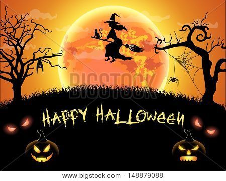 Spooky card for happy Halloween. orange background with full moon, spider, witch and bat. Vector Illustration.