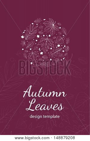 Autumn leaves postcard design template white outline on purple