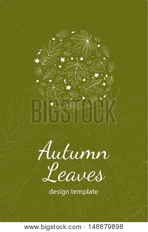 Autumn leaves postcard design template white outline on green