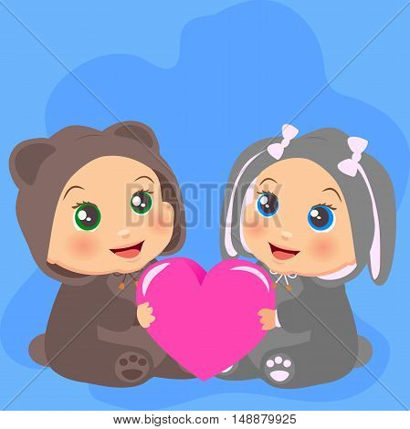 High quality original trendy vector illustration of Two baby with in bear cub and a rabbit suits with a heart