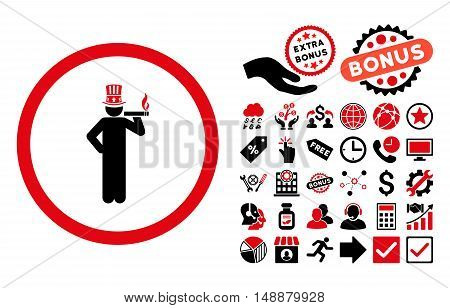 American Capitalist pictograph with bonus symbols. Glyph illustration style is flat iconic bicolor symbols, intensive red and black colors, white background.