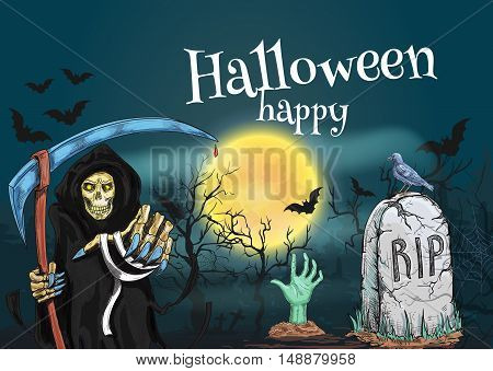 Happy Halloween with death and cemetery. Vector tempalte for Halloween greeting and invitation card, poster, banner, decoration element. Midnight grave yard with death reaper skeleton in robe and zombie hand stretching to moon