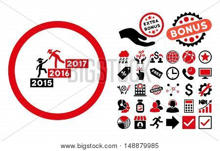 Annual Gentleman Help icon with bonus elements. Glyph illustration style is flat iconic bicolor symbols, intensive red and black colors, white background.