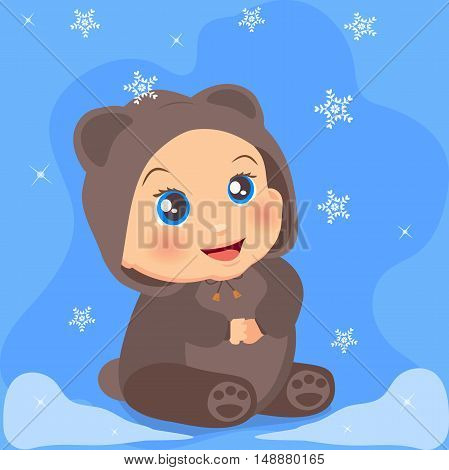 High quality original trendy vector illustration of a cute baby girl in suit with ears with winter snowflakes on background