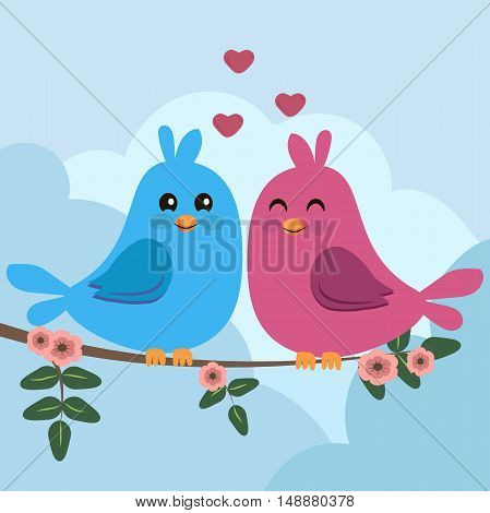 High quality original trendy vector illustration of two colorful birds sitting on a branch. Can be used for postcard, valentine card, wedding invitation
