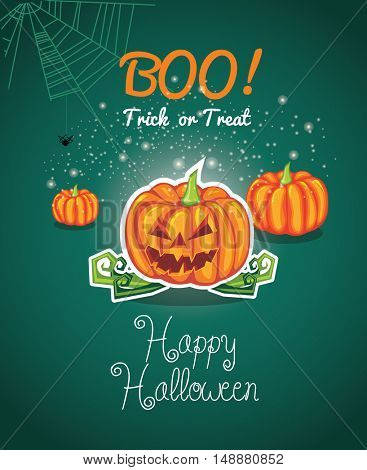 Vector Illustration of a Halloween Background. Halloween background with pumpkin