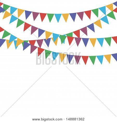 Multicolored bright buntings flags garlands. Vector illustration