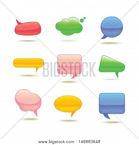 Set of Realistic Glass Speech Bubble for web design. Vector illustration