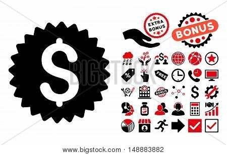 Bank Seal pictograph with bonus clip art. Glyph illustration style is flat iconic bicolor symbols, intensive red and black colors, white background.