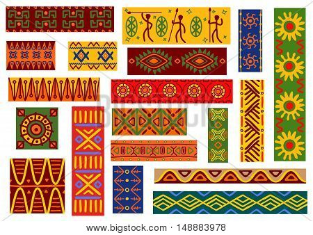 African ethnic ornaments with tribal and national patterns of stylized graphic elements of plants, flowers, human, animals. Bright colorful wallpaper with geometric shapes for fabric, textile, tapestry decoration