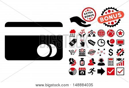 Banking Card pictograph with bonus images. Glyph illustration style is flat iconic bicolor symbols intensive red and black colors white background.
