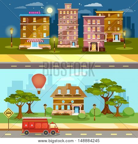 Cityscape night and day city town life banner vector illustration