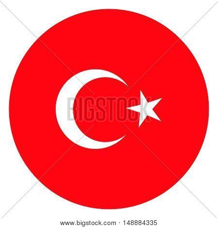 round flag of turkey vector stock illustration