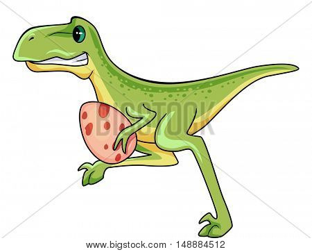 Animal Illustration Featuring a Raptor Running Away with a Dinosaur Egg