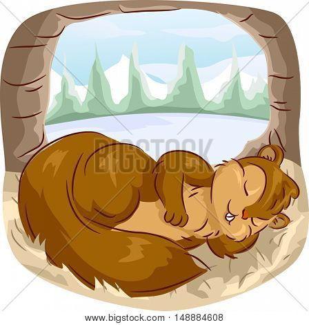 Animal Illustration Featuring a Cute Squirrel Peacefully Napping Inside the Hollow of a Tree