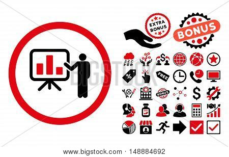 Bar Chart Presentation icon with bonus images. Glyph illustration style is flat iconic bicolor symbols, intensive red and black colors, white background.