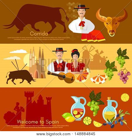 Spain banner traditions and culture spanish attractions people vector illustration