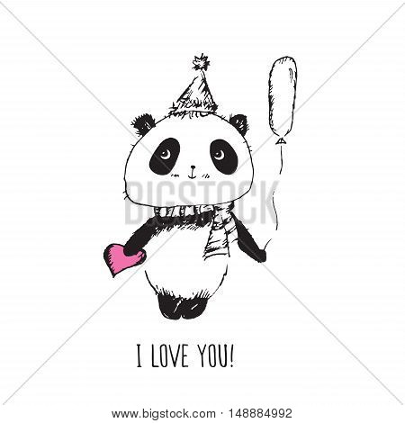 I love you! Greeting card for Valentine's Day, Mother's Day, birthday with panda and pink heart. Hand drawn panda for your design. Doodles, sketch. Vector illustration.