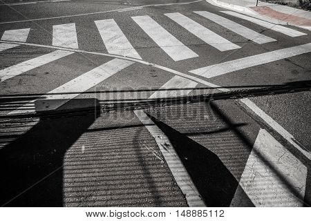 Traffic lines detail in a street in Sant Cugat del Valles Barcelona Spain