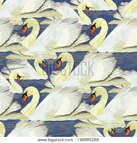 Vector illustration of seamless pttern with swan on blue background, water, Wrapping paper, printable, wallpaper for design.