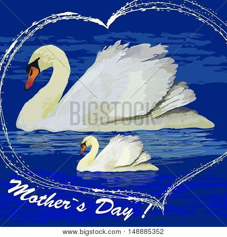 Vector illustration of watercolor swans into the heart for Mother is day, Design element for poster, logo.