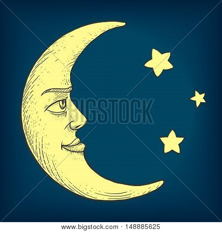 Moon with face engraving colorful vector illustration. Scratch board style imitation. Hand drawn image.