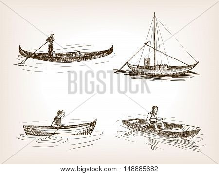 Water transport sketch style vector illustration. Old engraving imitation. Transport set. Different boats hand drawn sketch imitation