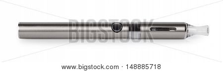big metal electronic cigarette isolated on white background. E-cigarette. E-cigarette or electronic inhaler that simulating the act of tobacco smoking
