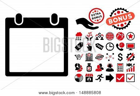 Calendar Frame pictograph with bonus pictograph collection. Glyph illustration style is flat iconic bicolor symbols, intensive red and black colors, white background.