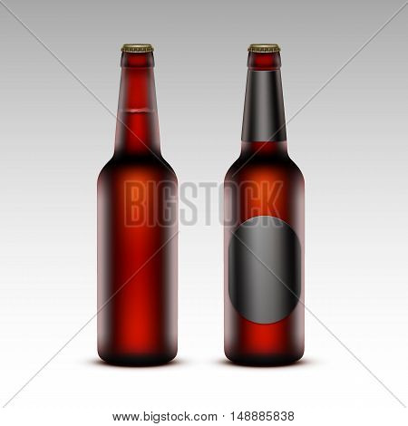 Vector Set of  Closed Blank Glass Transparent Brown Bottles of  Dark Red Beer with without Black labels for Branding Close up Isolated on White Background