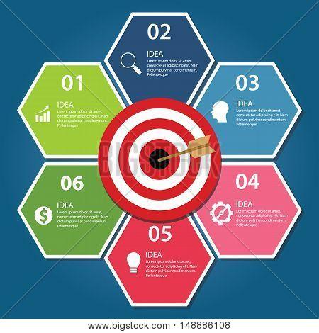 Business target infographic dart board arrow concept of goals achievement vector