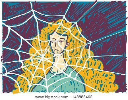 Pretty young unhappy woman in depression doodles. Color vector illustration. EPS8