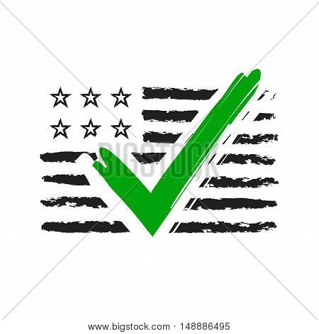 Presidential election USA sign. Black and green design on white background for voting campaign. Vote patriotic mark for poster icon sign. Symbol of political patriotism. Vector illustration