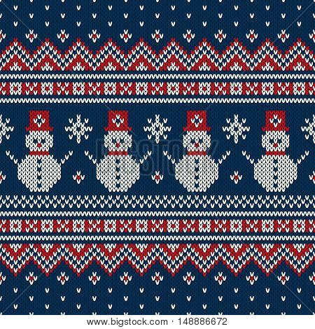 Winter Holiday Sweater Design with Snowman and Christmas Tree. Seamless Knitted Pattern