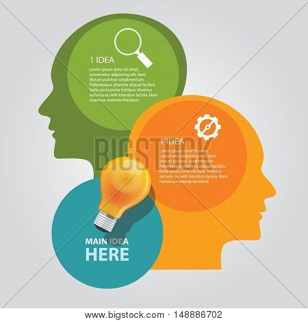 two head thinking info graphic chart overlap vector bulb idea business shine