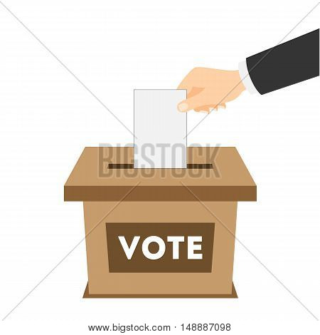 Isolated ballot box with vote paper on white background. Concept of voting, ellection and balloting. Election campaign.