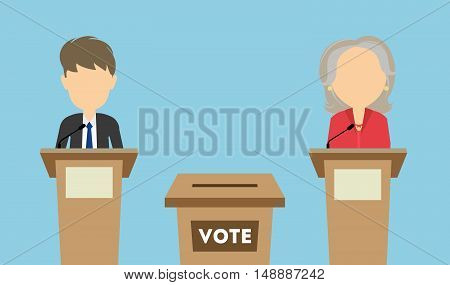 Debates on election. Two speaker on tribunes. Vote ballot box. Concept of voting, ellection and balloting. Election campaign.