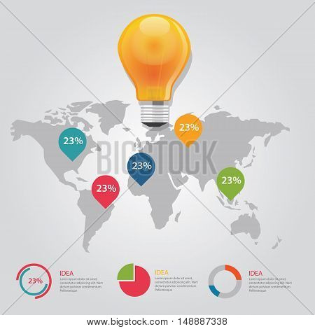map pointer info graphic chart result vector bulb idea business shine world map global