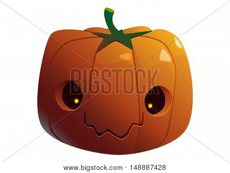 Halloween pumpkin with scary face on white background