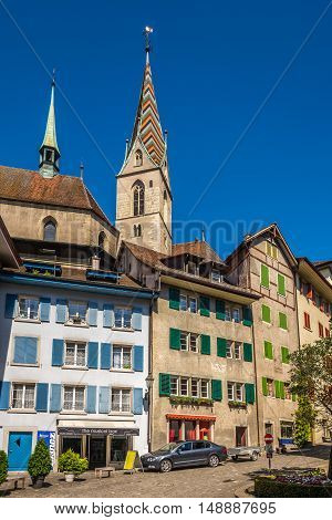 BADEN,SWITZERLAND - AUGUST 26,2016 - In the streets of Baden. Baden is located in Aargau canton on the left bank of the river Limmat.