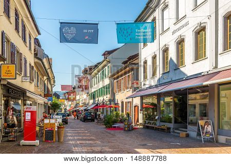 FRAUENFELD,SWITZERLAND - AUGUST 26,2016 - In the streets of Frauenfeld. Frauenfeld is the capital of the canton of Thurgau in Switzerland.
