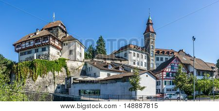 FRAUENFELD,SWITZERLAND - AUGUST 26,2016 - Castle and City hall in Frauenfeld. Frauenfeld is the capital of the canton of Thurgau in Switzerland.
