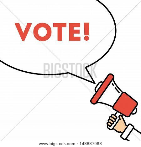 Hand Holding red Megaphone with VOTE sign