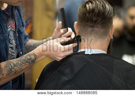 "Close-up back view of handsome young bearded man getting trendy haircut in modern barbershop. Cool male hairstylist with tattoo ""born barber"" serving client. Indoors shot poster"