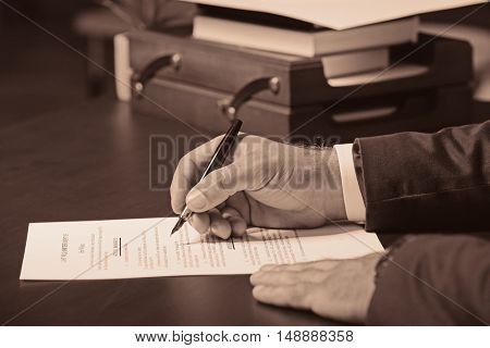 Hands of  lawyer on table. Retro style