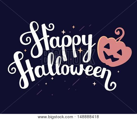 Vector Halloween Illustration With  Text Happy Halloween And Orange Pumpkin On Dark Night Background