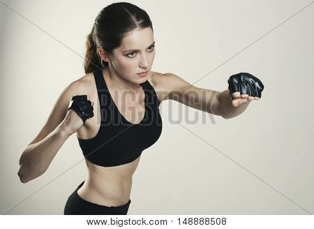 Young Woman Sport Isolated Fight Studio Shot