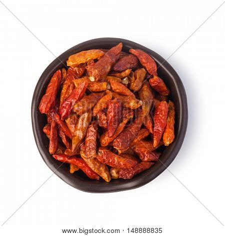 dry chili pepper spices on white background