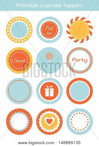 Vector set of printable tags, circle cupcake toppers, labels template for party