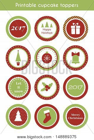 Christmas printable stickers. Vector set of circle cupcake toppers, labels for christmas party